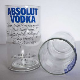 recycled glass absolut vodka bottle glasses