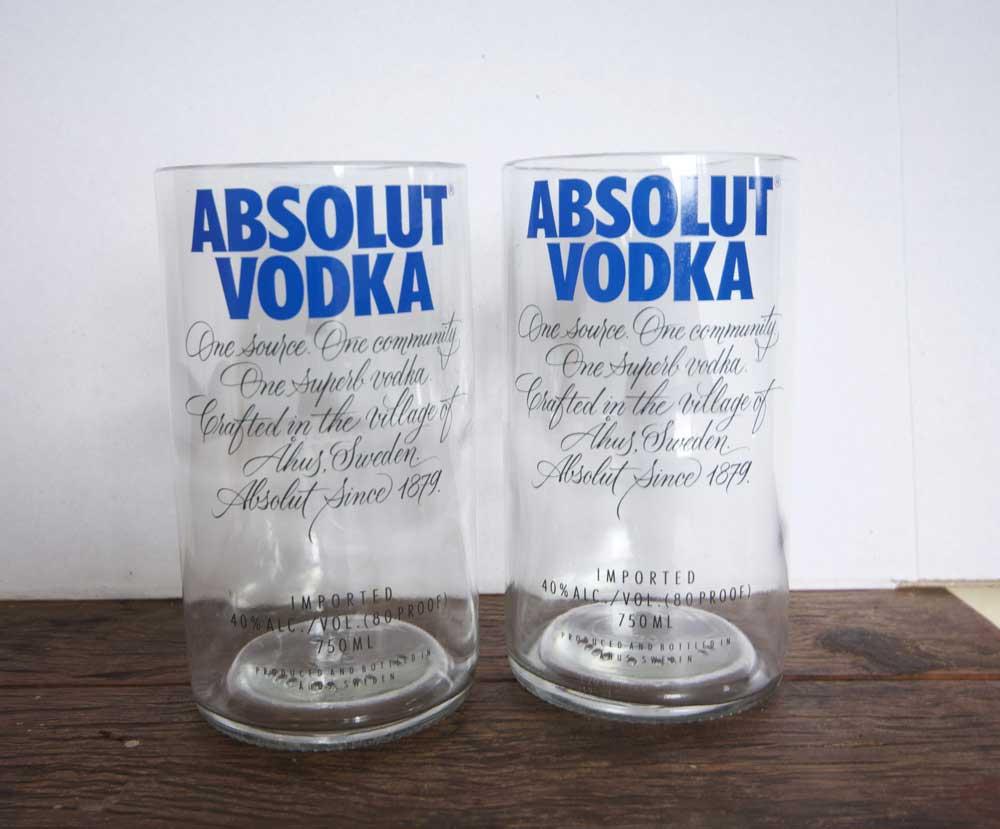 absolut vodka bottle glasses
