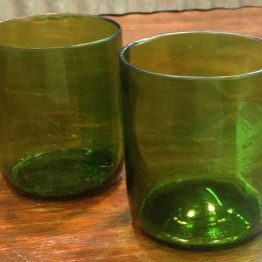 green scotch glass made from wine bottles