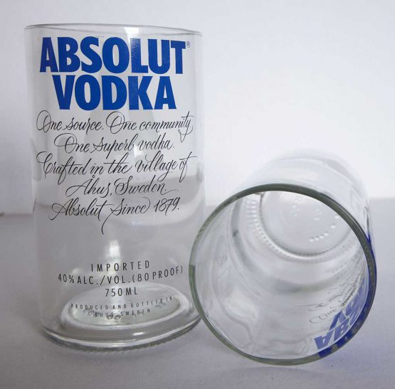 recycled glass absolut vodka bottle glasses