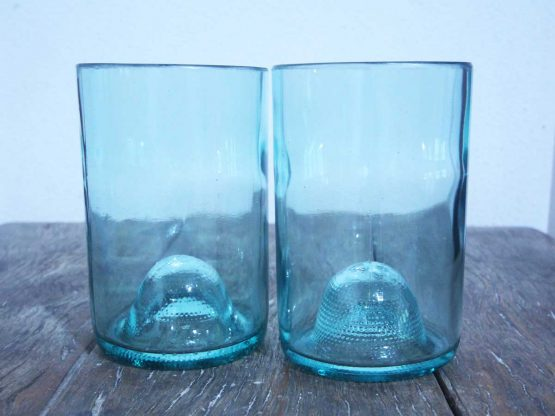 recycled glasses made from wine bottle
