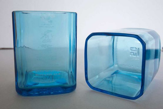 recycled glasses made from gin bottle