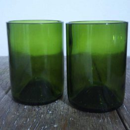recycled glasses made from green wine bottles